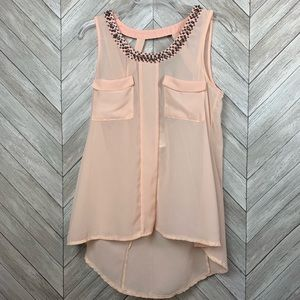 Small blush pink beaded blouse tank top. Nordstrom